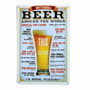 Placa How to Order a Beer Metalizada